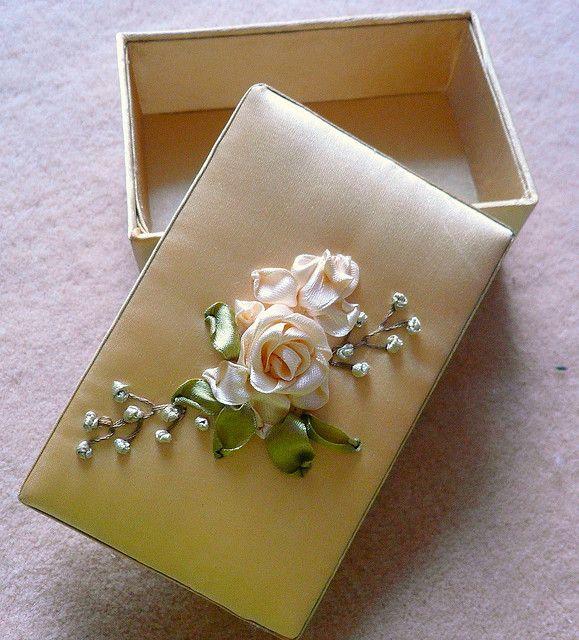 Silk Ribbon Embroidered Box