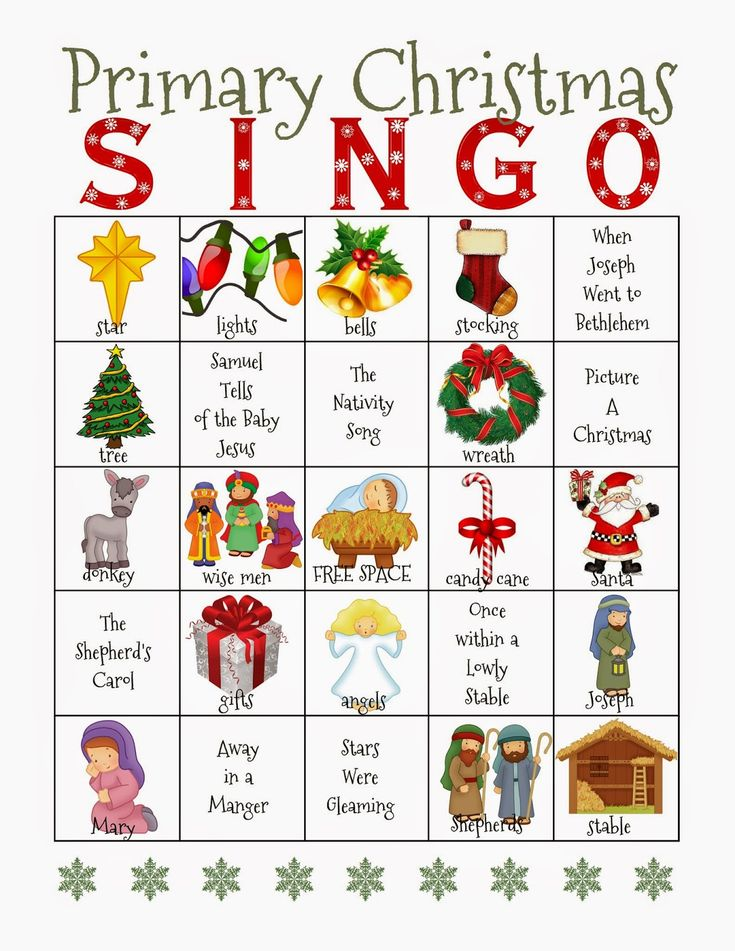 Camille's Primary Ideas: Christmas Singo - Lots of ideas on this site.  There is also a link to a huge list of primary songs and their words for quick printing.