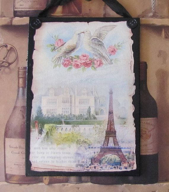 Paris Decor, Eiffel Tower Decor, French Country Decor, Eiffel Tower Sign, Pink Roses Lovebirds, Paris Bedroom Decor, Romantic French
