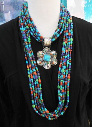 multi-strand turquoise, coral, lapis, sterling silver