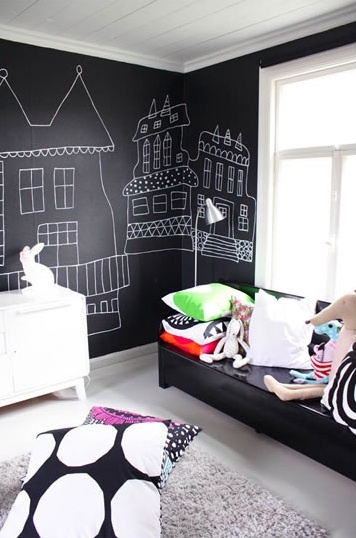 chalkboard walls fit perfectly in the black and white color palette of this kid's room
