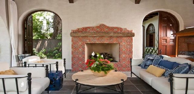 Spanish Style Decorating Living Room with Fireplace