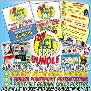 Everything you need for an ENTIRE English/Reading ACT prep course! If you are a dynamic teacher who wishes to reach all your students with high-interest materials that keep them engaged, interested, and learning, this is for you!