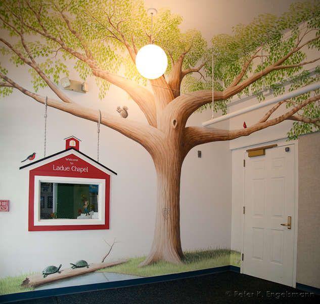 Nursery School | Nursery School Mural, acrylic on plaster, Ladue Chapel Nursery School ...