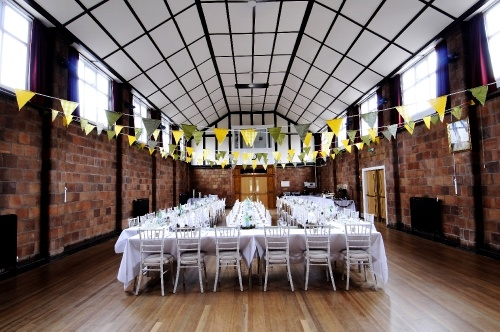 www.CaptureWeddingImages.co.uk photo gallery Coleshill Town Hall. Village Hall style Wedding. Vintage Bunting. Homemade accessories.