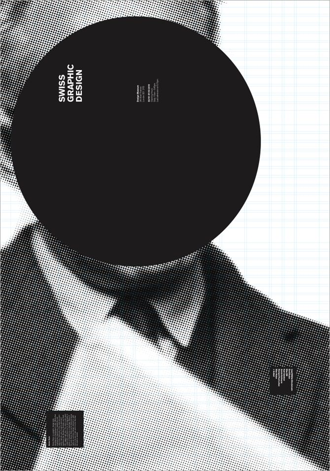 graphic statement black and white picture and simple circle and vertical font.