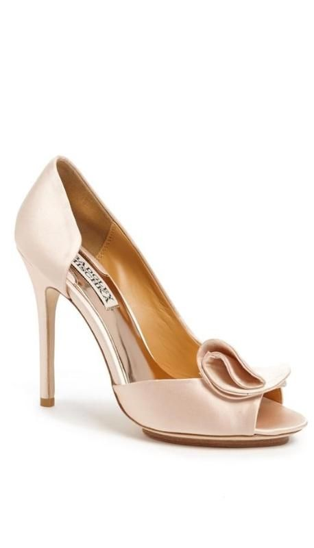 pastel pink satin wedding shoes with petal detail here
