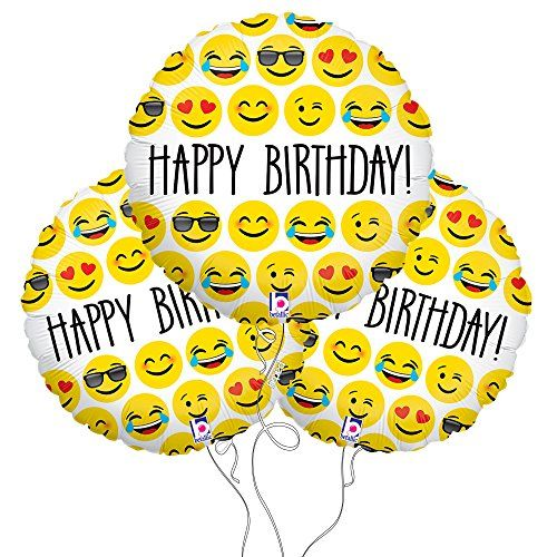 Happy Birthday Emoji Mylar Balloon 3 Pack Party Explosions Amazon