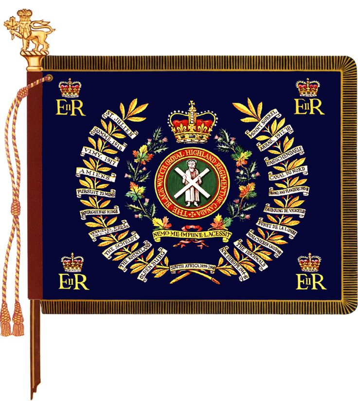 The regimental colour of the Black Watch (Royal Highland Regiment) of Canada.