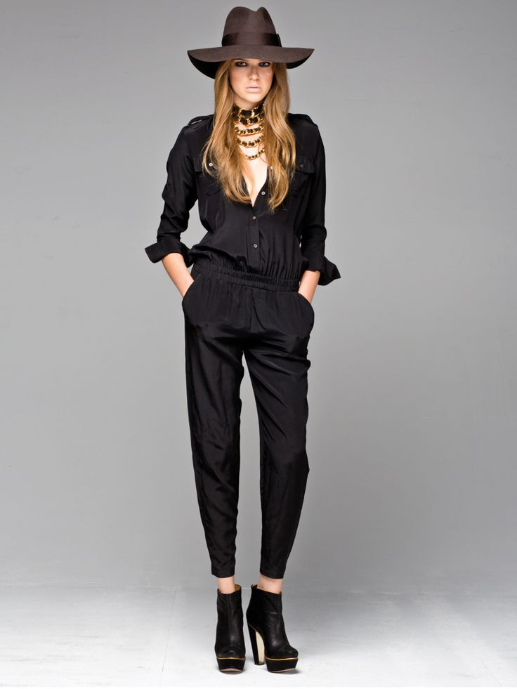 Black silk, long sleeved Jumpsuit. Books & Records Silk Jumpsuit