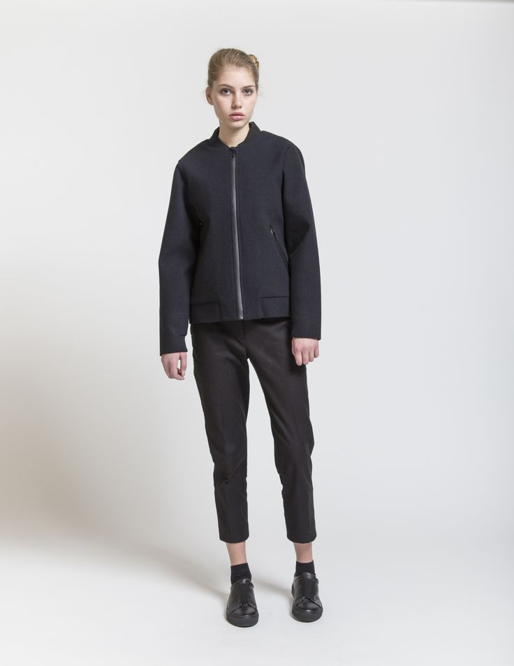 Selfhood - womensfashion outfit. Poly/wool jacket with taped zippers and rib.