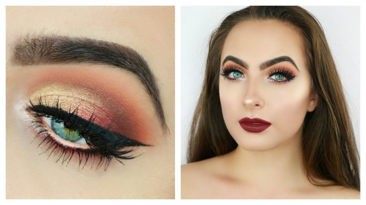 Glam Fall Makeup Tutorial | Golden Burnt Orange Eyes & Burgundy Lips