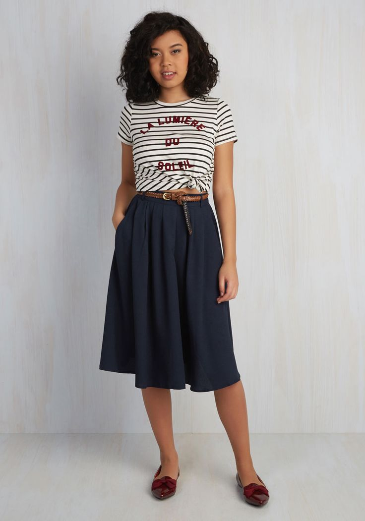 Breathtaking Tiger Lilies Midi Skirt in Navy. This morning, a bundle of bright flowers was waiting at your door. #blue #modcloth