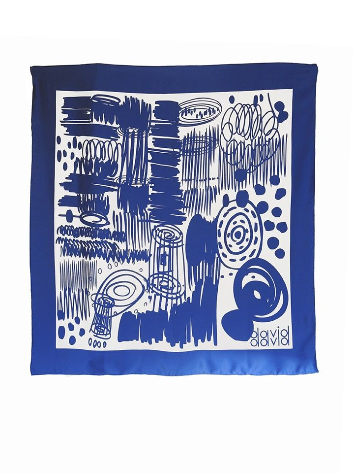 David David silk scarf, printed and hand-rolled in England.