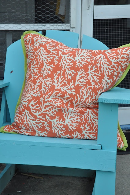 Turquoise Blue Chair Coral Pillow W Lime Green Love