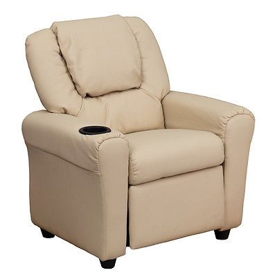 Sofas and Armchairs 134648: Flash Furniture Contemporary Beige Vinyl Kids Recliner W Cup Holder And Headrest -> BUY IT NOW ONLY: $103.4 on eBay!