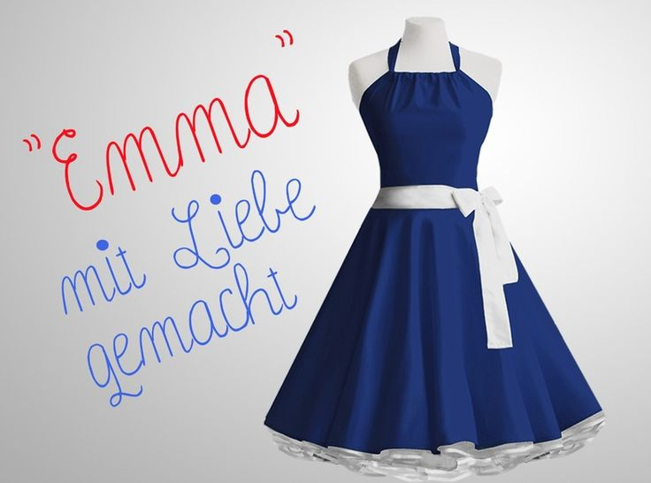 Baumwoll Kleid blau im 50er Jahre Rockabilly Stil von Miss Bobby - Handgemachte Kleidung und Accessoires auf DaWanda.com