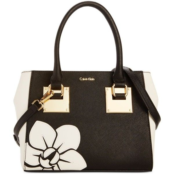 Calvin Klein Small Saffiano Flower Crossbody ($228) ❤ liked on Polyvore featuring bags, handbags, shoulder bags, structured purse, calvin klein crossbody, white purse, white shoulder bag and calvin klein