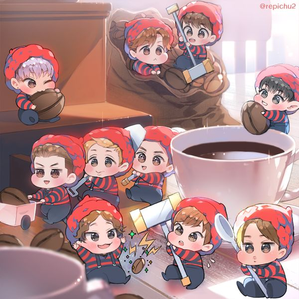 Awww, I'd like to have Exo chibis make my morning coffee. Okay, I normally don't drink coffee, but I would start if they made it.