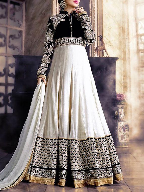 Durga Emporio white georgette embroidered salwar suit