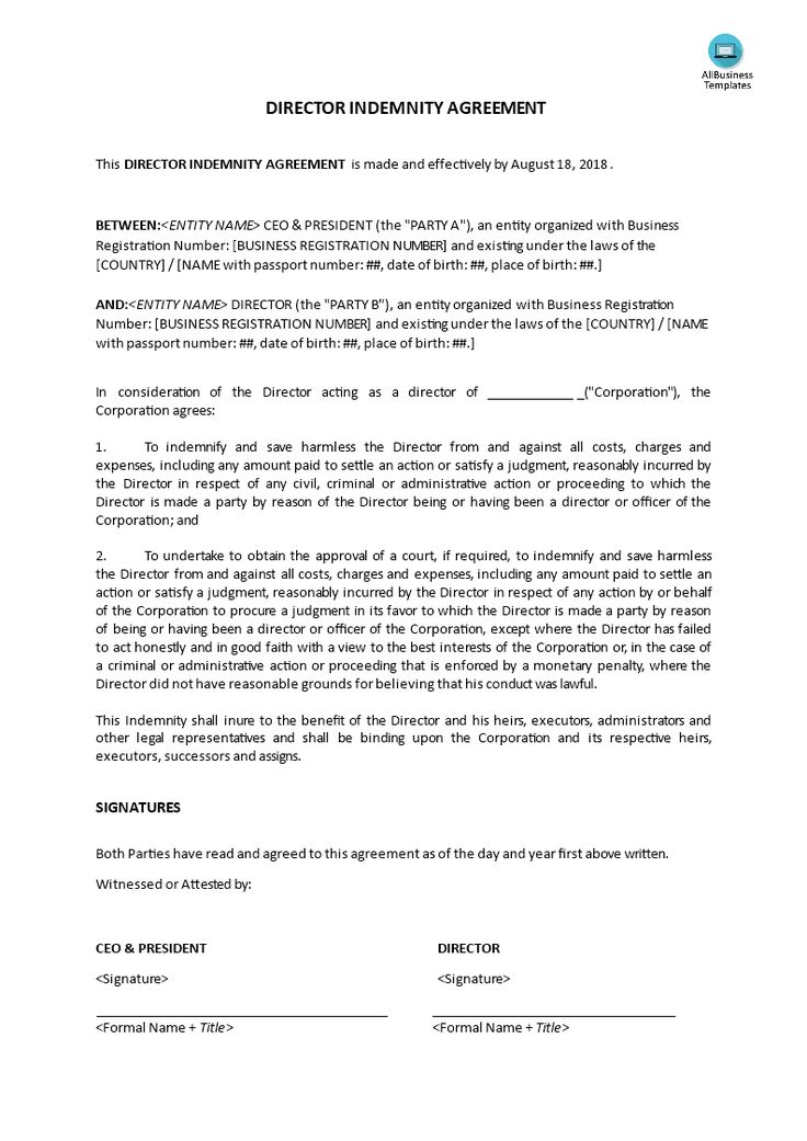 Indemnity Agreement Template Sample Printable Torrens Title 2 Form