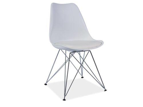 Jedálenská stolička - Tempo Kondela - Metal (ekokoža biela)