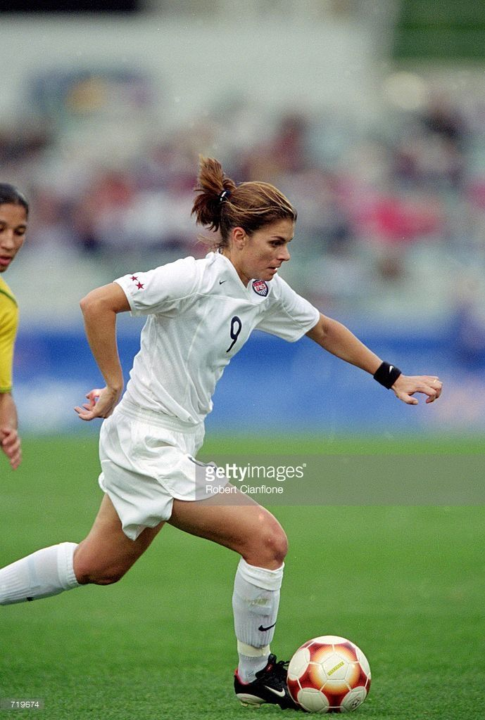 Mia Hamm #9 of the Team USA controls the ball in the Womens Semi-Finals Soccer Match against Team Brazil during the 2000 Sydney Olympic Games at the Bruce Stadium in Canberra, Australia. Team USA defeated Team Brazil 1-0.Mandatory Credit: Robert Cianflone /Allsport