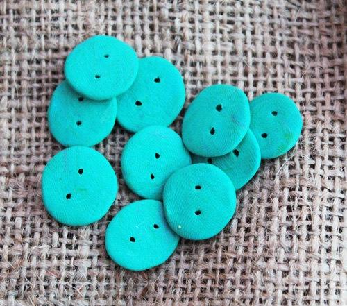 10 cyan handmade fimo buttons. £0.50p.