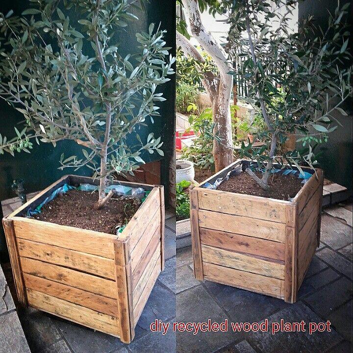 diy recycled wood pot