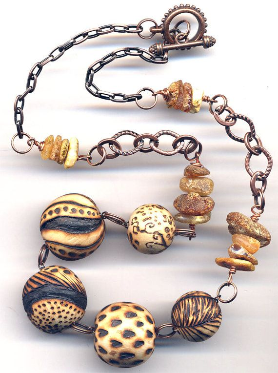 Amber and Wooden Necklace Wood burned Handmade Beads by Annaart72