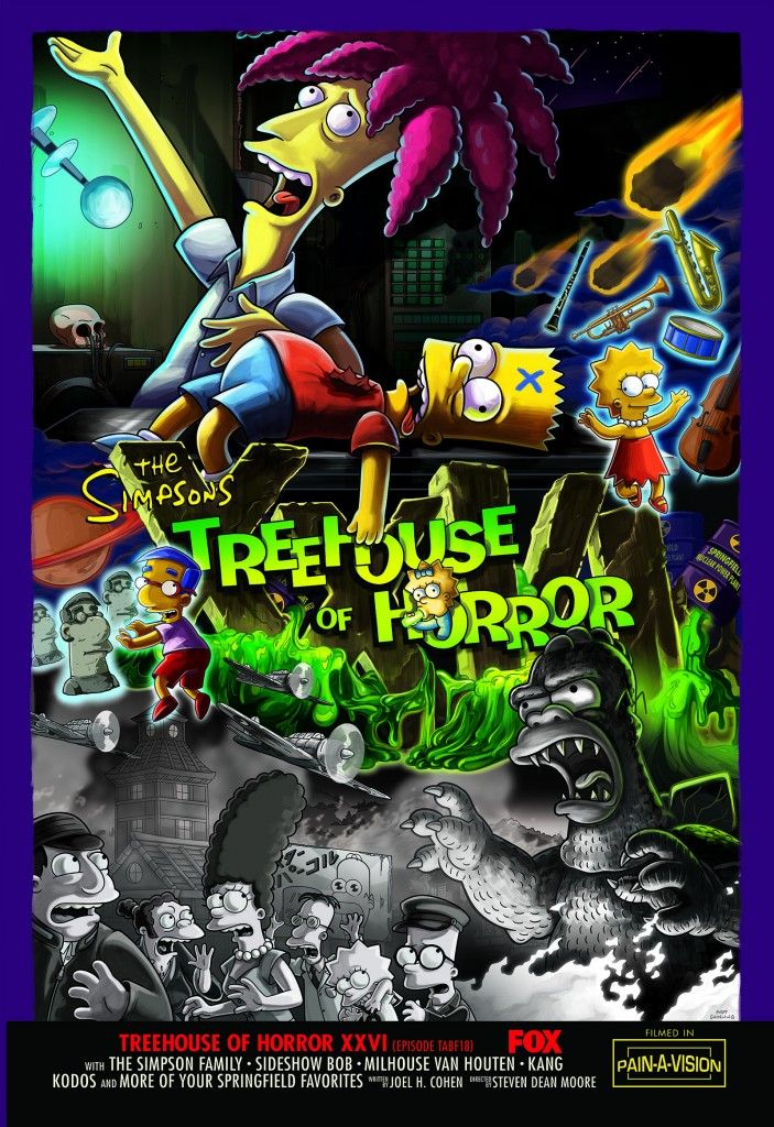 The Simpsons Treehouse of Horror XXVI Poster / 4 Clips