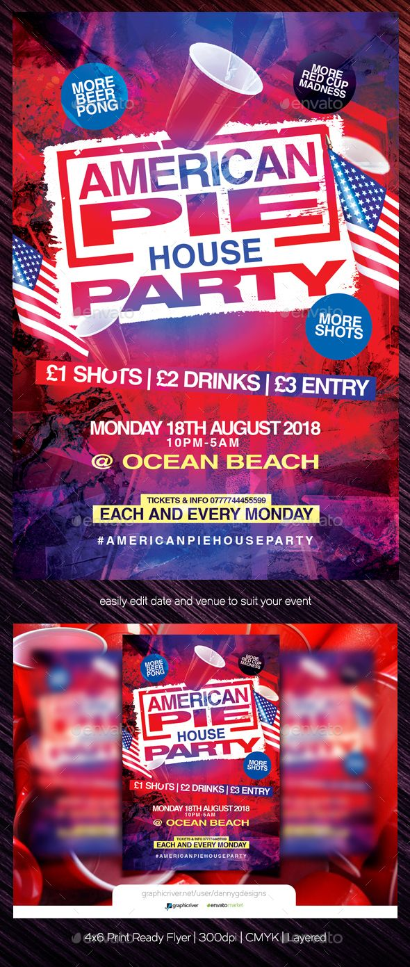 american pie house party flyer template all text editable
