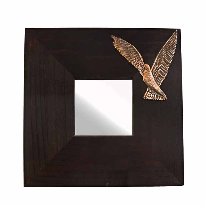 Wooden mirror with relief representation of a dove. Design and sculpture by the artist El Phil (Eleftherios  A. Philippakis). Dimensions: 25 cm x 25 cm x 1 cm  Copper relief representation, mounted on a wooden mirror.