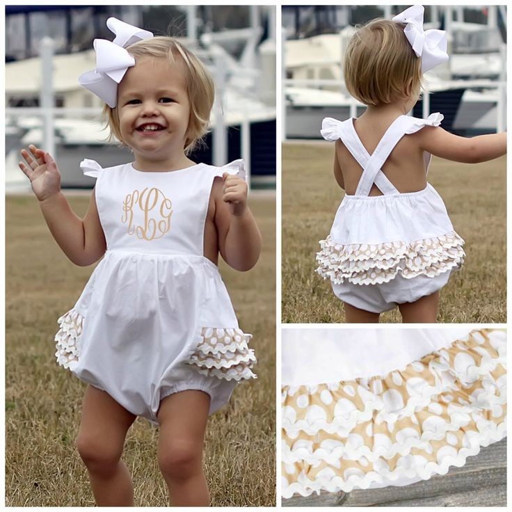 "White Ruffle Butt Bubble Tan Polka Dot Pre-Order shipping by March 30th, 2015 Brand: Southern Sunshine Kids. Price: $28.99 + $10 @ Checkout for Monogram Options: 3M, 6M, 9M, 12M, 18M, 24M, 2T, 3T To bid, comment with ""Sold, size, email address"". Savannah 1st birthday?"