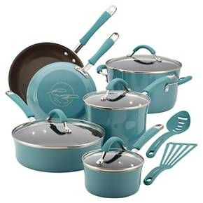 Rachel Ray Cucina Porcelain Aluminum 12 Piece Cookware Set blue/teal