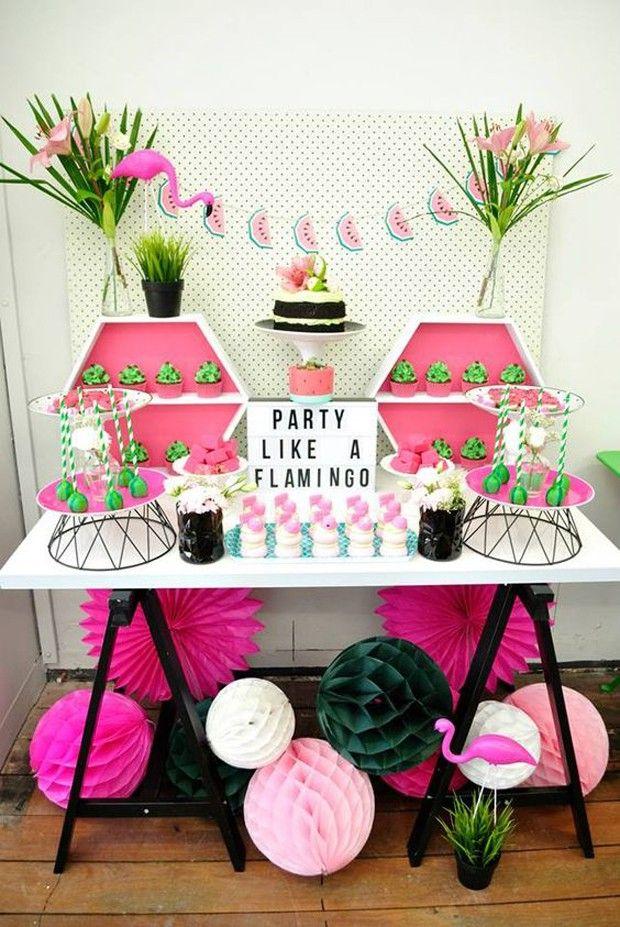 Decoração de festa tema flamingo