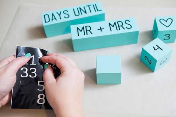 DIY Countdown Calendar: Count down the days until your wedding date with this easy DIY project. For a fellow bride, make her this wedding countdown calendar (something similar would also work for a mom-to-be or student nearing graduation). You'll get bonus points if you make it in her wedding colors.   10 Sweet & Simple DIY Presents for Weddings or the Holidays