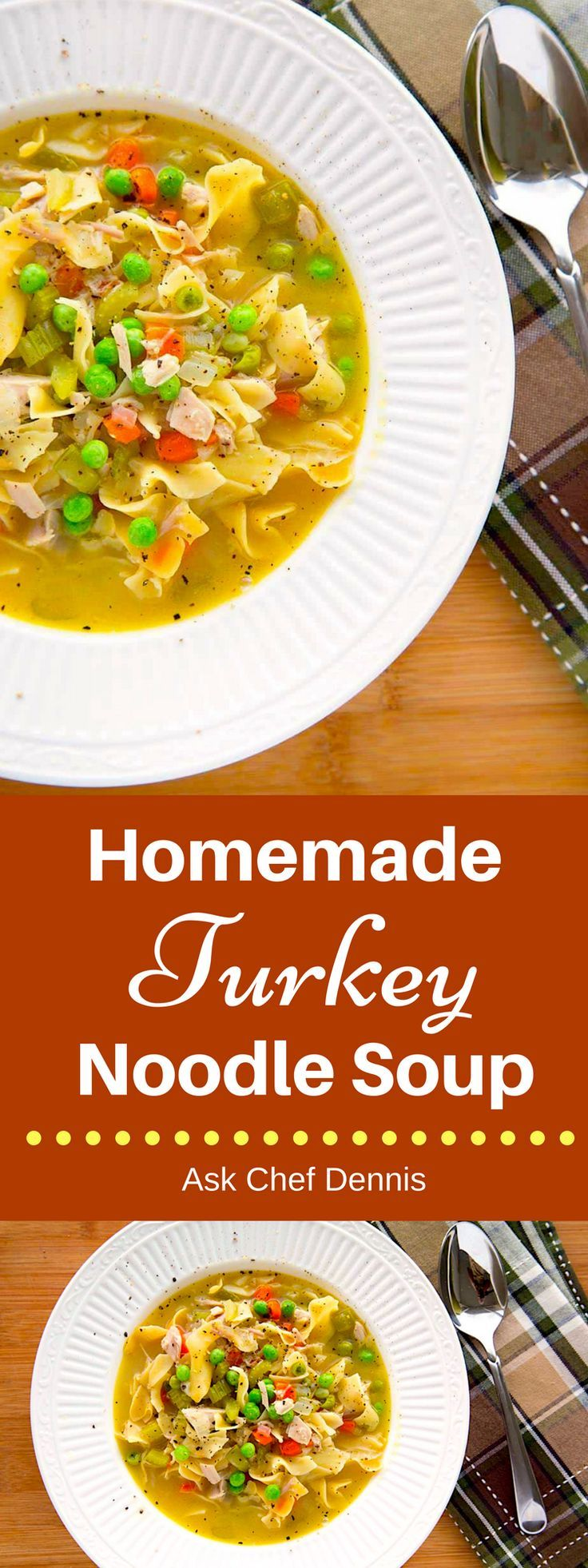 Enjoy a delicious bowl of homemade turkey noodle soup.  It's easy to make and lot better and healthier than those canned soups at the supermarket. via @AxkChefDennis