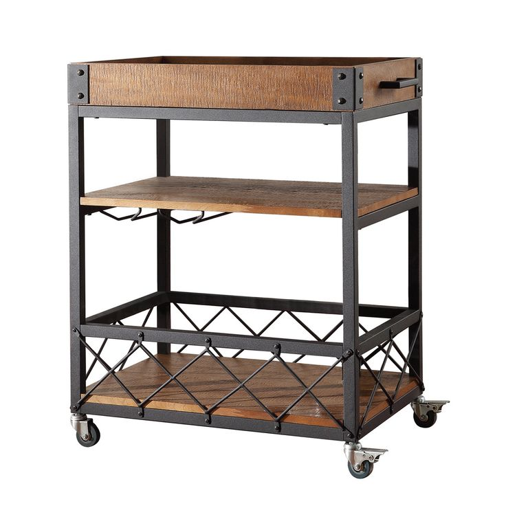 Industrial Kitchen Cart Bar Cart Serving By Maverickindustrial: Myra Rustic Mobile Serving Cart With Wine Inserts And