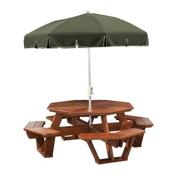 Amish Green Wood Outdoor Octagon Picnic Table ($899) ❤ Liked On Polyvore  Featuring Home