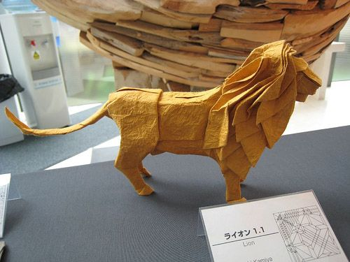 Origami Lion. Origami Lion from Satoshi Kamiya's exhibition at the 40th British Origami Society Convention. Folded by Satoshi Kamiya