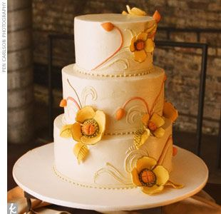 likes: how the cream color of the cake matches with the yellow flower decorations...would be better if the flowers were lighter yellow