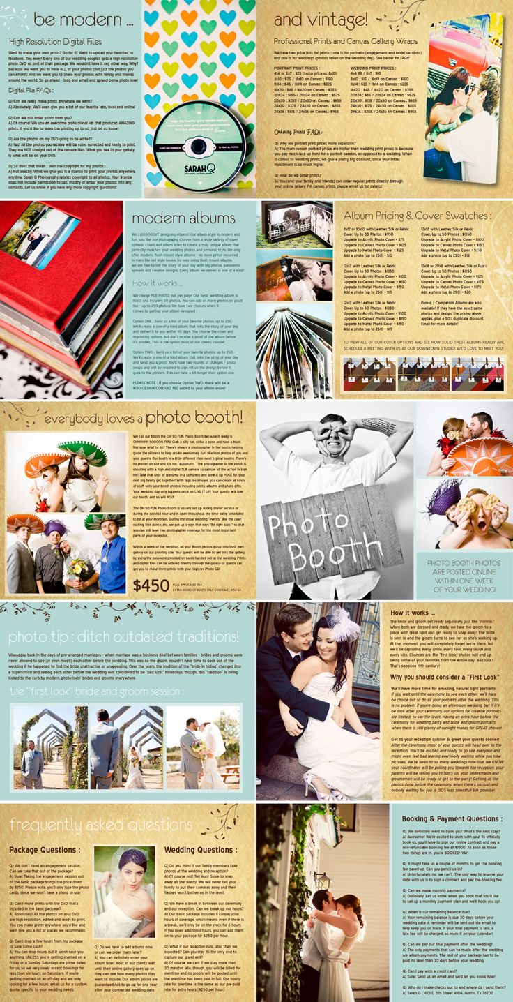 Pricing Guide Photography Price ListWedding