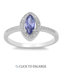 Sterling Silver Tanzanite CZ Marquise Halo Ring