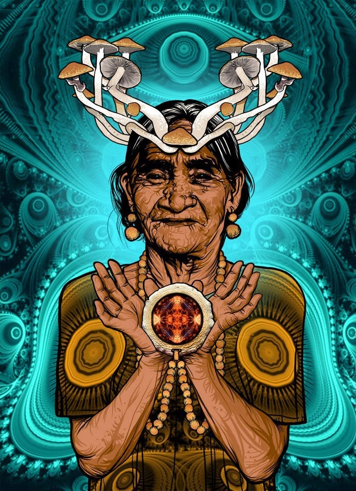 Maria Sabina: Master Guide and goddess of the sacred mushroom Mazatec shaman, wise curandera Maria Sabina Magdalena García (22 July 1894 - 22 November 1985) original indigenous Curandera the small town of Huautla de Jimenez, located in the Sierra Mazatec, in southern Mexico. Unintentionally, María Sabina became a national and international celebrity due to his extensive knowledge of healing and ceremonial use of hallucinogenic mushrooms usually grow in his native Oaxaca