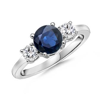 Angara Solitaire Bezel Pear Blue Sapphire Ring with Diamond White Gold kgjC42b