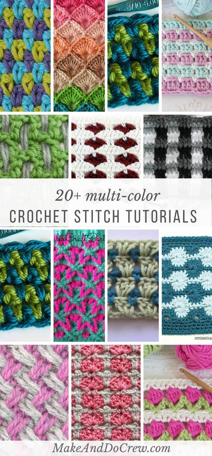 Multi-color crochet stitches list: Each of these stitch tutorials is made using multiple colors of yarn to create stunning effects!