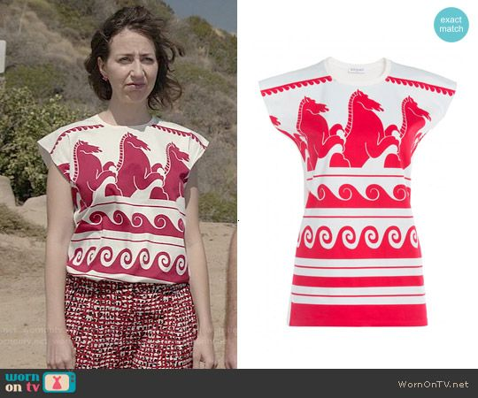 Carol's red and white horse print top on Last Man on Earth.  Outfit Details: http://wornontv.net/52364/ #LastManOnEarth