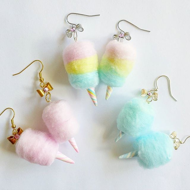 Pastel Cotton Candy Earrings by Fatally Feminine Designs