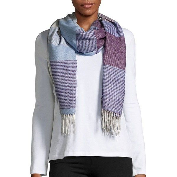 Echo Striped Fringed Scarf ($49) ❤ liked on Polyvore featuring accessories, scarves, purple, wrap shawl, purple shawl, fringe shawl, striped shawl and echo scarves